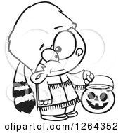 Clipart Of A Black And White Cartoon Boy Trick Or Treating In A Davy Crockett Halloween Costume Royalty Free Vector Illustration by toonaday