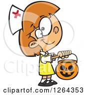 Cartoon Caucasian Girl Trick Or Treating In A Nurse Halloween Costume