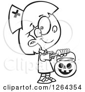 Black And White Cartoon Girl Trick Or Treating In A Nurse Halloween Costume