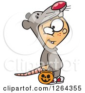 Clipart Of A Cartoon Caucasian Boy Trick Or Treating In A Mouse Halloween Costume Royalty Free Vector Illustration