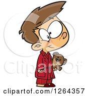 Cartoon Caucasian Boy Wearing Pajamas And Holding A Teddy Bear