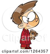 Clipart Of A Cartoon Caucasian Boy Wearing Pajamas And Holding A Teddy Bear Royalty Free Vector Illustration