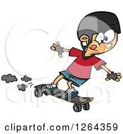 Cartoon Caucasian Boy Skateboarding On A Longboard