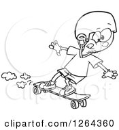 Clipart Of A Black And White Cartoon Boy Skateboarding On A Longboard Royalty Free Vector Illustration by toonaday