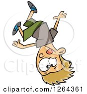 Clipart Of A Cartoon Caucasian Parkour Boy Upside Down Royalty Free Vector Illustration