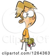 Cartoon Caucasian Boy Sitting And Posing Unenthusiasticly For A School Photo