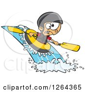 Clipart Of A Cartoon Caucasian Boy White Water Rafting Royalty Free Vector Illustration