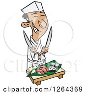 Cartoon Happy Japanese Male Chef Holding Knives Over Sushi