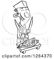 Clipart Of A Black And White Cartoon Happy Japanese Male Chef With Knives And Sushi Royalty Free Vector Illustration by toonaday