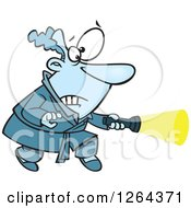 Clipart Of A Cartoon Scared Caucasian Man Shining A Flash Light Royalty Free Vector Illustration
