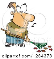 Clipart Of A Cartoon Happy Caucasian Man Whistling And Raking Leaves Royalty Free Vector Illustration