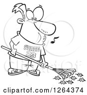 Clipart Of A Black And White Cartoon Happy Man Whistling And Raking Leaves Royalty Free Vector Illustration