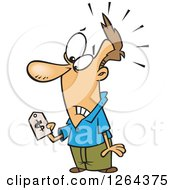 Clipart Of A Cartoon Caucasian Man With Sticker Shock Holding A Price Tag Royalty Free Vector Illustration