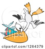 Clipart Of A Cartoon Hungry Pelican Swooping Up A Fish Royalty Free Vector Illustration by toonaday