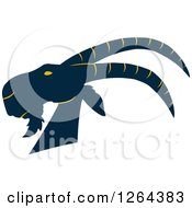 Clipart Of A Navy Blue And Yellow Buck Goat Head Royalty Free Vector Illustration