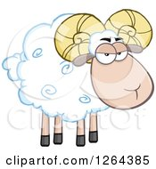 Clipart Of A White Ram Sheep With Curly Horns Royalty Free Vector Illustration