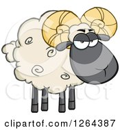 Clipart Of A Sheep With Curly Horns Royalty Free Vector Illustration by Hit Toon