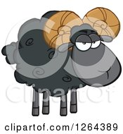Clipart Of A Black Sheep With Curly Horns Royalty Free Vector Illustration by Hit Toon