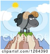 Clipart Of A Black Ram Sheep With Curly Horns On A Mountain Top Royalty Free Vector Illustration