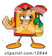 Clipart Picture Of A Price Tag Mascot Cartoon Character Holding A Red Rose On Valentines Day by Toons4Biz