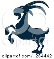 Clipart Of A Navy Blue And Yellow Rearing Buck Goat Royalty Free Vector Illustration by Hit Toon