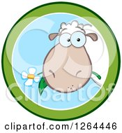 Clipart Of A Sheep Eating A Flower In A Green And Blue Circle Design Royalty Free Vector Illustration by Hit Toon