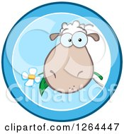 Clipart Of A Sheep Eating A Flower In A Blue Circle Design Royalty Free Vector Illustration by Hit Toon