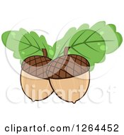 Clipart Of Acorns With Green Oak Leaves Royalty Free Vector Illustration by Hit Toon