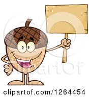 Clipart Of A Happy Acorn Character Holding Up A Blank Wood Sign Royalty Free Vector Illustration