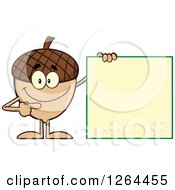 Clipart Of A Happy Acorn Character Pointing To A Blank Sign Royalty Free Vector Illustration