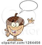 Clipart Of A Friendly Waving And Talking Acorn Character Royalty Free Vector Illustration