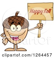 Clipart Of An Acorn Character Holding A Happy Fall Sign Royalty Free Vector Illustration
