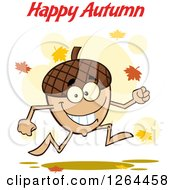 Clipart Of A Running Acorn Character Under Happy Autumn Text Royalty Free Vector Illustration by Hit Toon