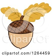Clipart Of An Acorn With Autumn Oak Leaves Royalty Free Vector Illustration