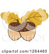 Clipart Of Acorns With Yellow Autumn Oak Leaves Royalty Free Vector Illustration