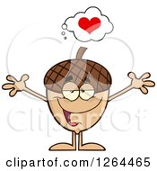 Clipart Of A Sweet Acorn Character With Open Arms And A Heart Royalty Free Vector Illustration by Hit Toon
