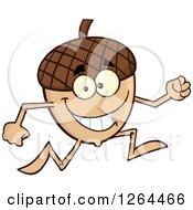 Clipart Of A Happy Acorn Character Running Royalty Free Vector Illustration