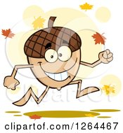 Clipart Of A Happy Acorn Character Running And Autumn Leaves Royalty Free Vector Illustration