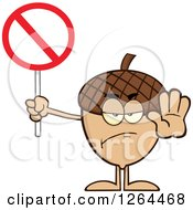 Clipart Of An Acorn Character Gesturing Stop And Holding A Restricted Sign Royalty Free Vector Illustration