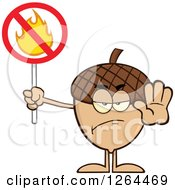 Clipart Of An Acorn Character Gesturing Stop And Holding A Fire Restricted Sign Royalty Free Vector Illustration