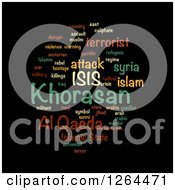 Clipart Of An ISIS And Al Qaeda Word Tag Collage On Black Royalty Free Illustration
