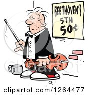 Clipart Of A Cartoon Male Panhandler Violinist On A Sidewalk With A Beethovens 5th Sign Royalty Free Vector Illustration