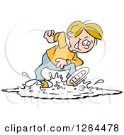 Clipart Of A Cartoon Cacucasian Boy Playing In A Puddle Royalty Free Vector Illustration