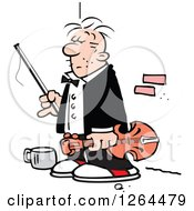 Clipart Of A Cartoon Male Panhandler Violinist On A Sidewalk Royalty Free Vector Illustration
