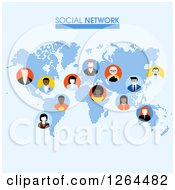 Clipart Of A Pixel Social Network Map With Business People Avatars Royalty Free Vector Illustration