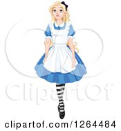 Clipart Of Alice In Wonderland Walking And Looking Upwards Royalty Free Vector Illustration by Pushkin