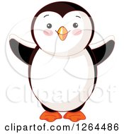 Clipart Of A Cute Welcoming Penguin Royalty Free Vector Illustration by Pushkin