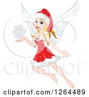 Clipart Of A Blond Caucasian Christmas Fairy Woman Flying With A Snowflake Royalty Free Vector Illustration