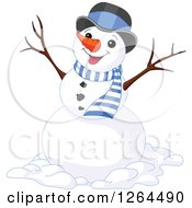 Clipart Of A Cheering Snowman In A Top Hat And Scarf Royalty Free Vector Illustration