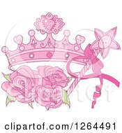 Clipart Of A Magic Wand And Pink Princess Crown With Roses Royalty Free Vector Illustration